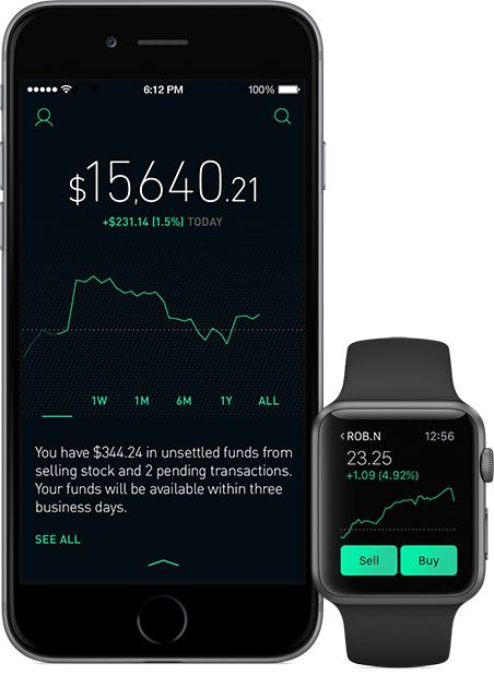 Robinhood app on iPhone and Apple Watch. Shows stock price