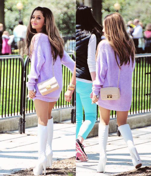 cf84d84d777 Ariana Grande lilac sweater outfit
