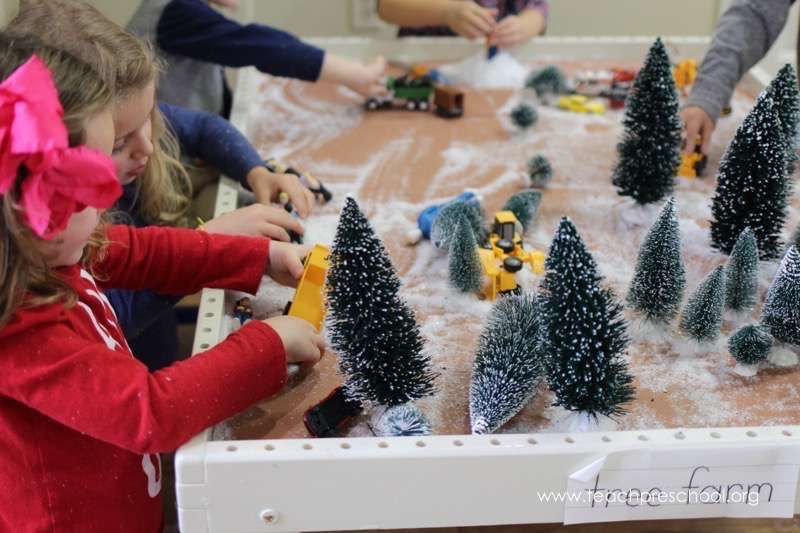Tree Farm Small World Sensory Play Preschool Christmas Activities Christmas Farm Preschool Christmas