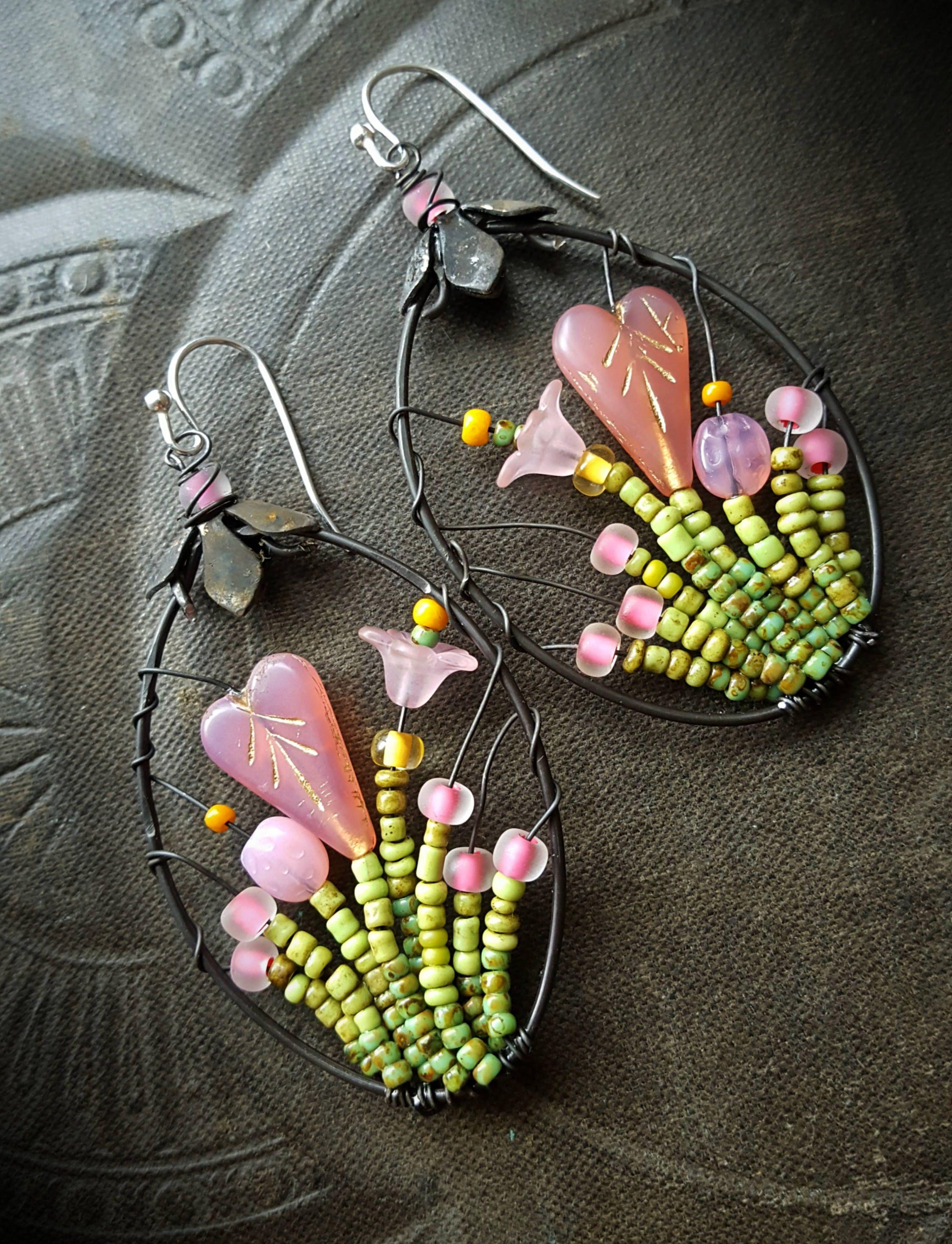 Blossom Series, Flowers, Hearts, Mothers Day, Garden, Artisan Made, Hoops,  Glass Flower Earrings, Unique, Organic, Beaded Earrings