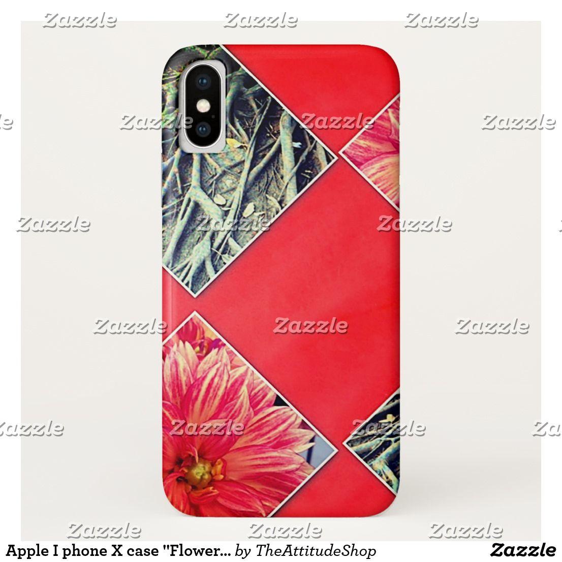 "Apple I phone X case ""Pink Roots"" Fun, unique"