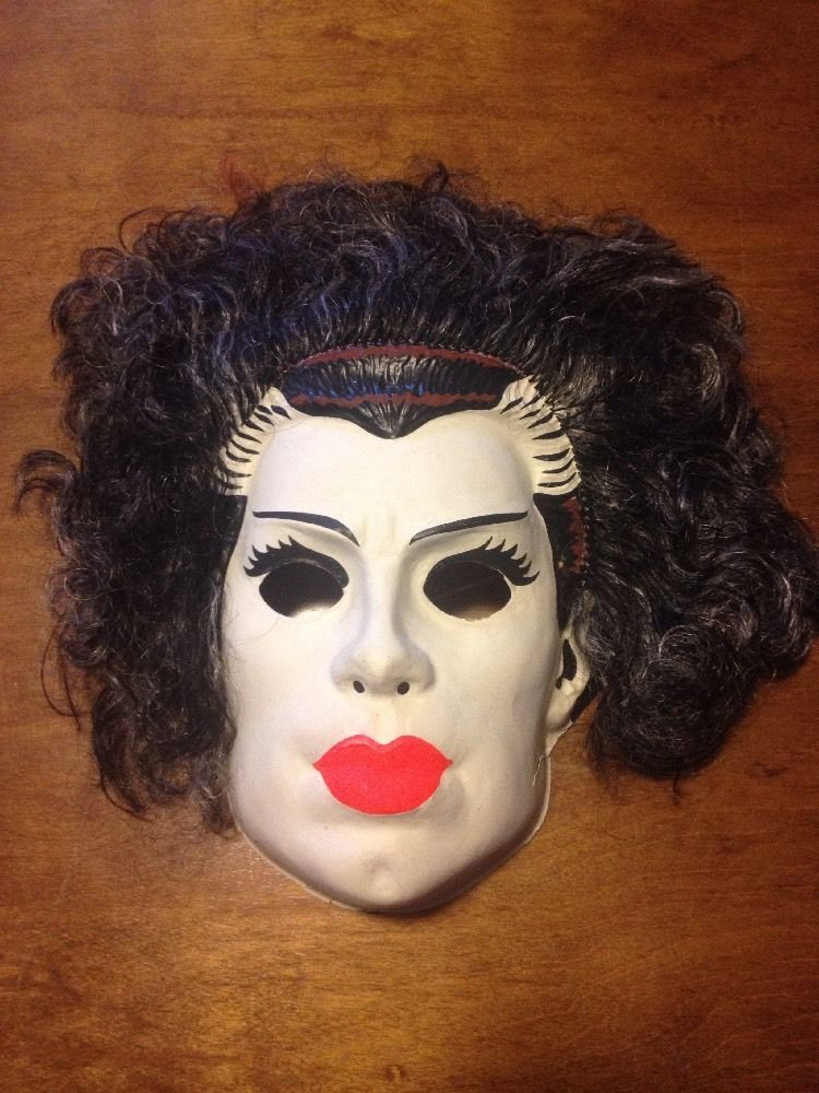 Vintage Plastic Bride Of Frankenstein Halloween Mask 1980s