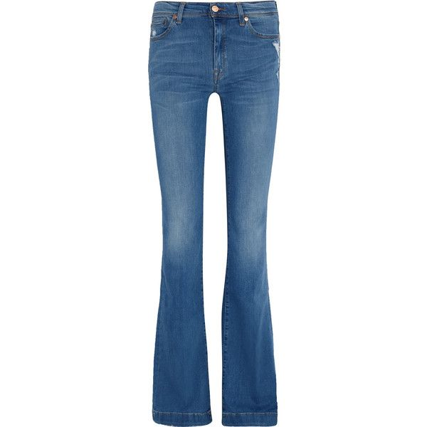 7 for all mankind Charlize mid-rise distressed bootcut jeans (38 KWD) ❤  liked on Polyvore featuring jeans, mid denim, 7 for all mankind jeans, mid  rise ...