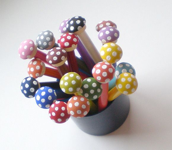 DIY Toadstool Pencil Toppers // via bug & bird