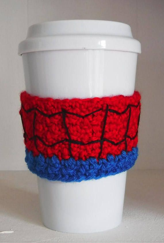 Crochet Spider-Man Coffee Cup Cozy | Pinterest | Café acogedor ...