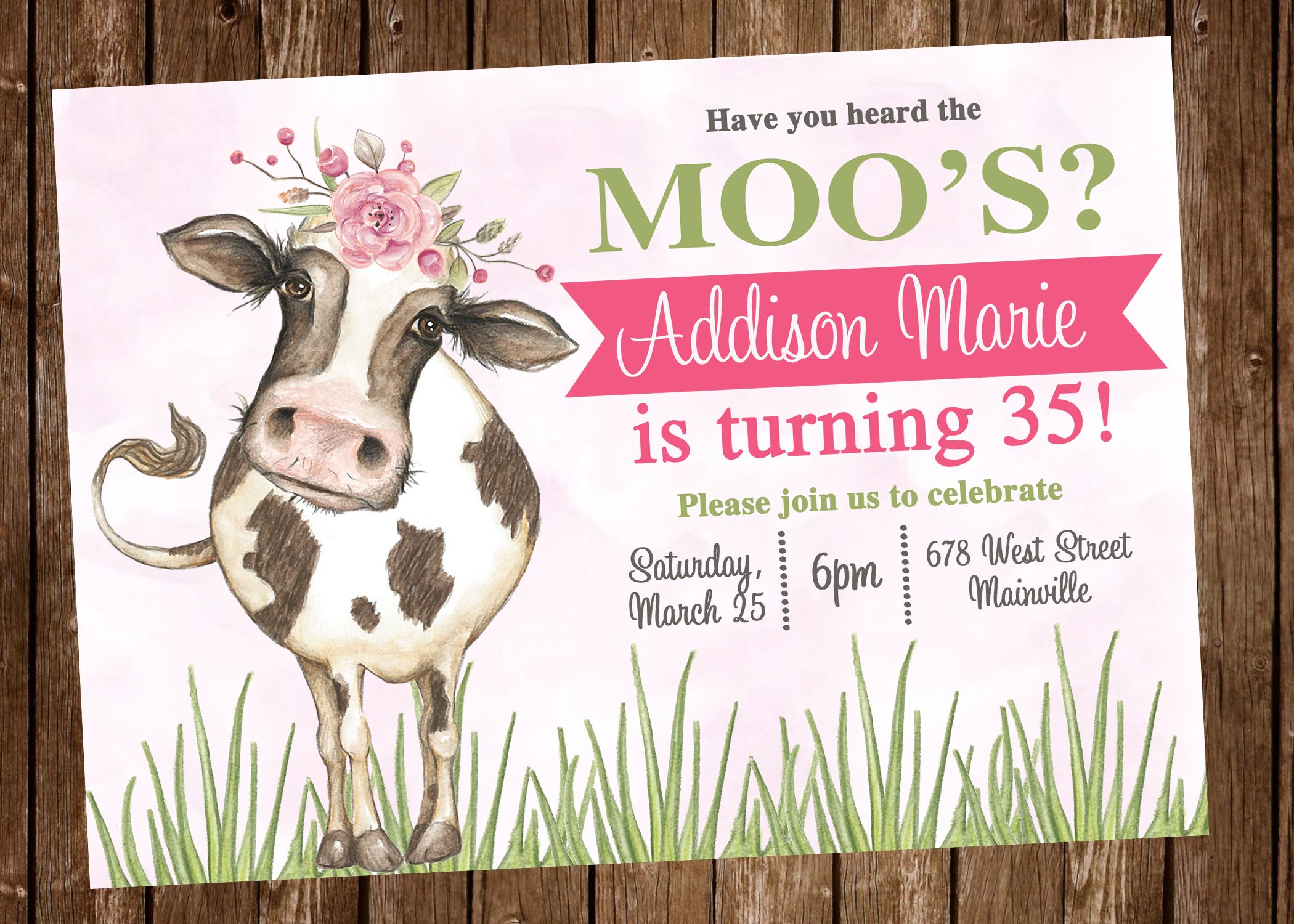 cow birthday party invitation digital or printed in 2018