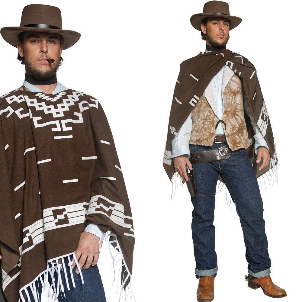 Mens Poncho Cowboy Fancy Dress Costume Western Wild West Cow Boy Outfit | eBay  sc 1 st  Pinterest & Mens Poncho Cowboy Fancy Dress Costume Western / Wild West Cow Boy ...