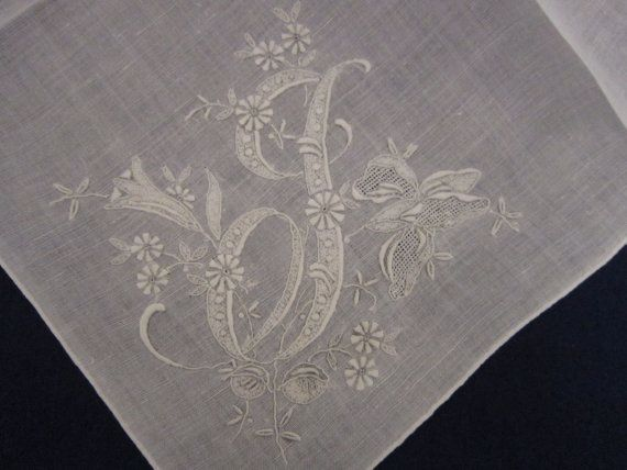 """Gorgeous Monogram """"J"""" HANKY w/ Lilies -Exquisite Appenzell MADEIRA Embroidery"""