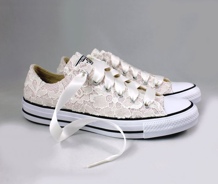 Blush Bridal Converses with Ivory Sequin Lace Converse Limited Color -- Wedding Tennis shoes ...