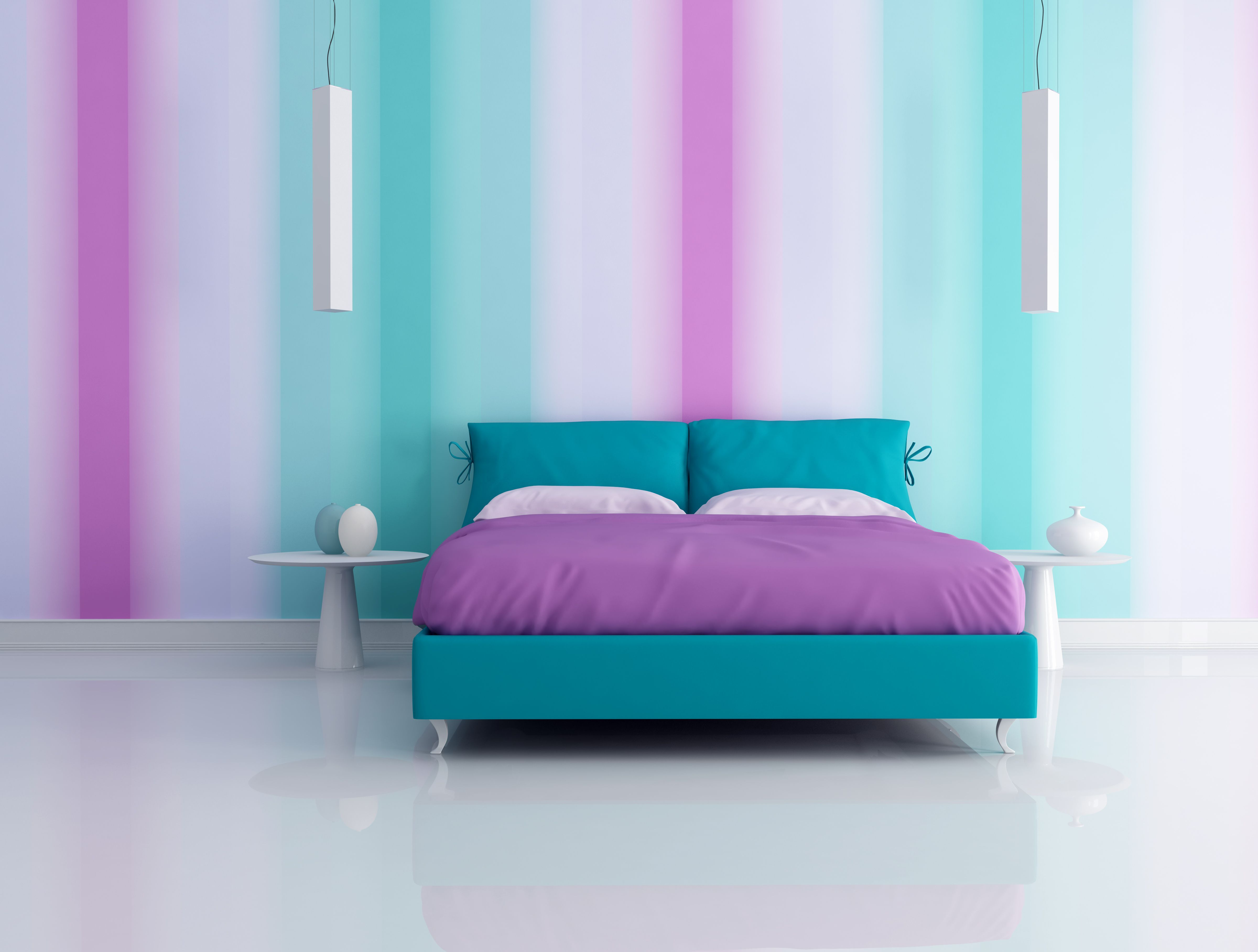 Decorating Your Bedroom With Green Blue And Purple Purple Living Room Purple Bedroom Decor Purple Bedrooms