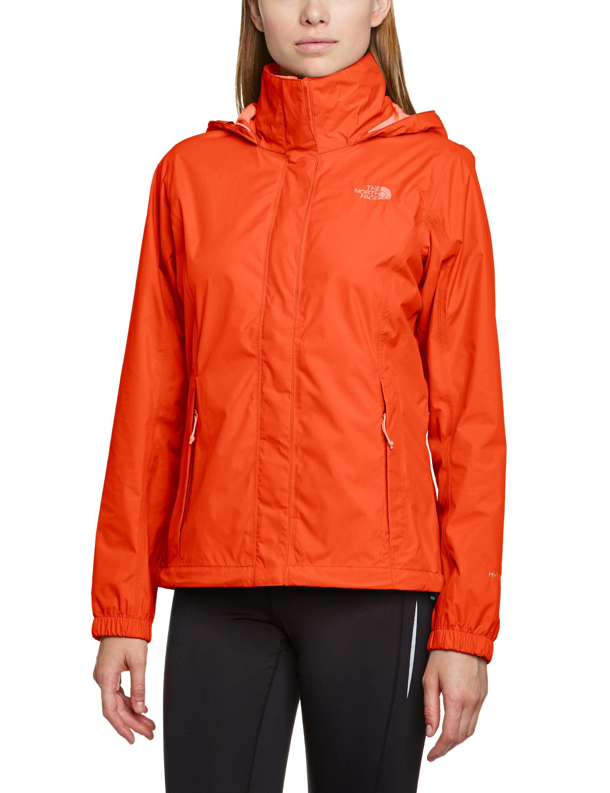 Amazon Com The North Face Women S Resolve Rain Jacket Sports Outdoors 121 Orange Or Black North Face Women Jackets Rain Jacket [ 2560 x 1969 Pixel ]