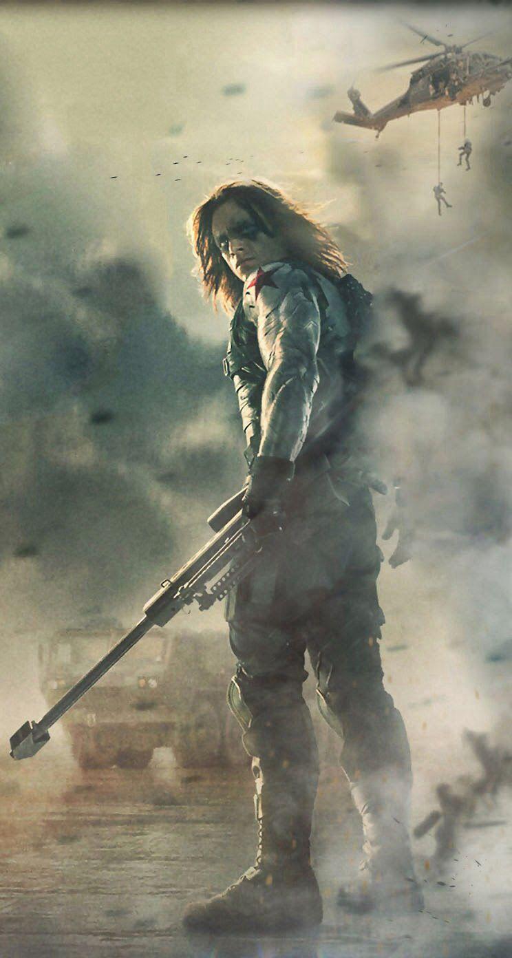 "Captain America: Winter Soldier, Bucky Barnes | Body language says badass, eyes say, ""Help""."