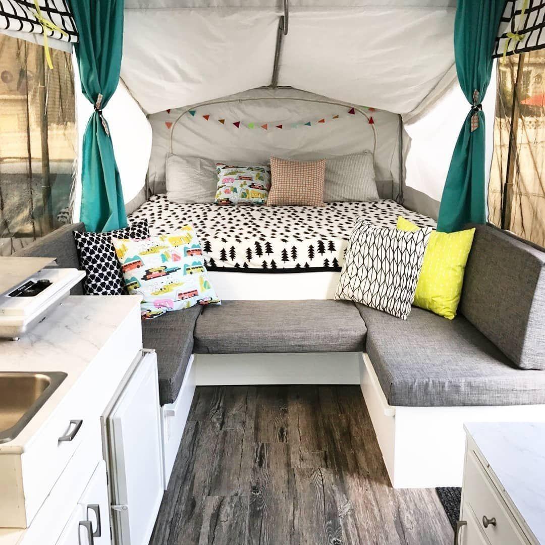 Color scheme & bedding 🥰   Pop up camper, Jayco pop up ...