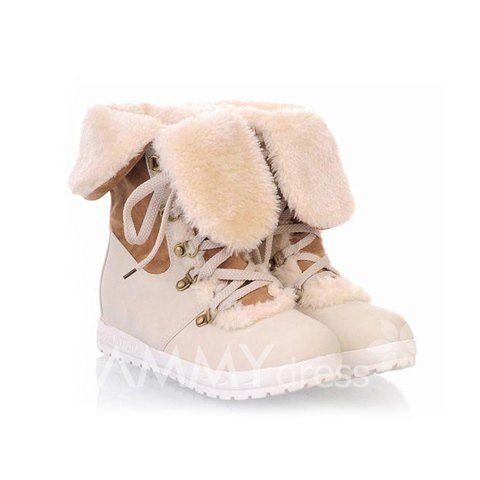 Sweet Women's Short Boots With Color Block and Lace-Up Design (WHITE,38)   Sammydress.com