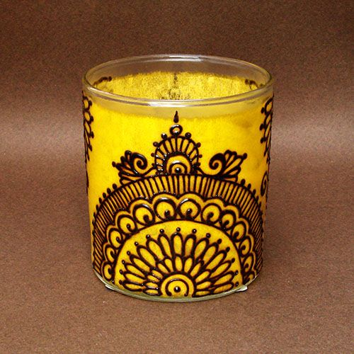 Lemon Yellow Large Round Glass Votive Candle Holder with ...