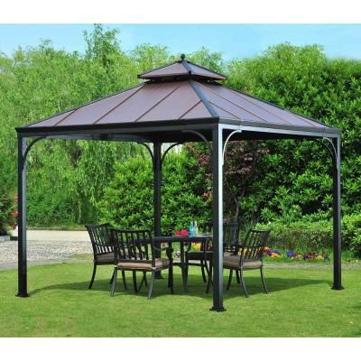 Hampton Bay Harper 10 Ft X 10 Ft Steel Hardtop Gazebo L Gz680pst