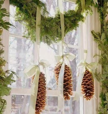 Pinecones on ribbon with garland