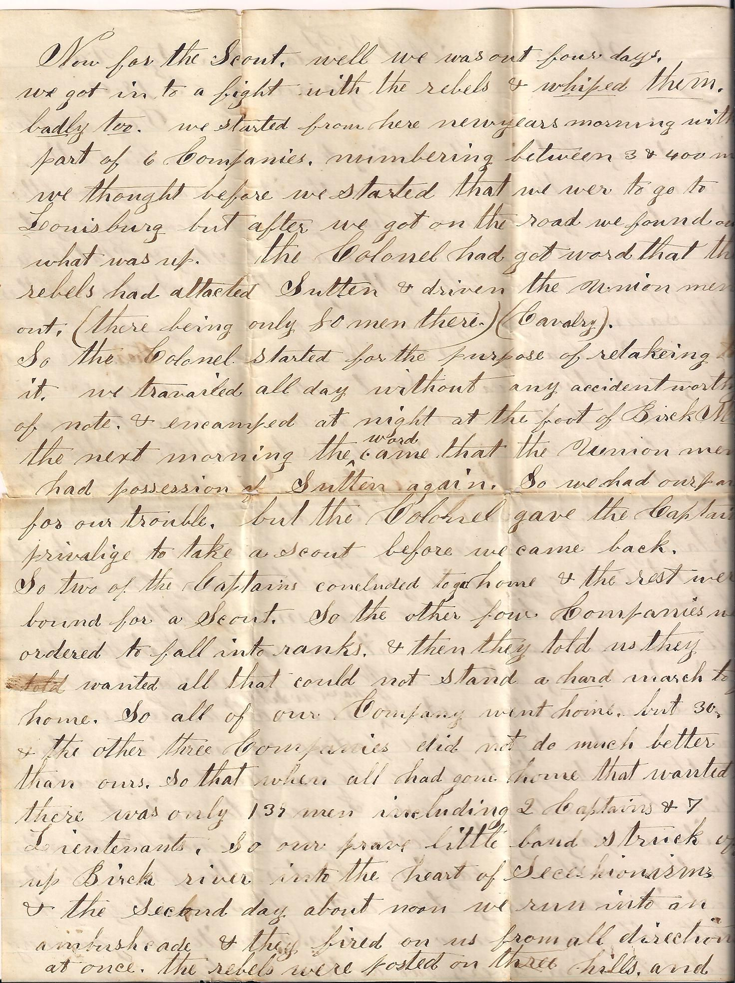 Civil War Letter of John King to his brother. page 2