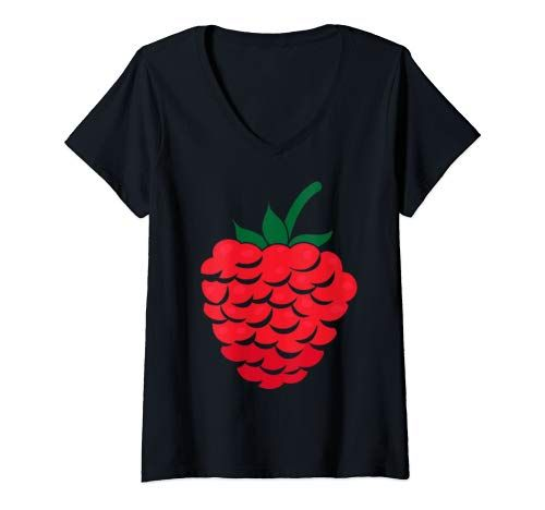Womens Big Raspberry Costume Cute Easy Fruits Halloween Gift V Neck T Shirt Women #area51partyoutfit