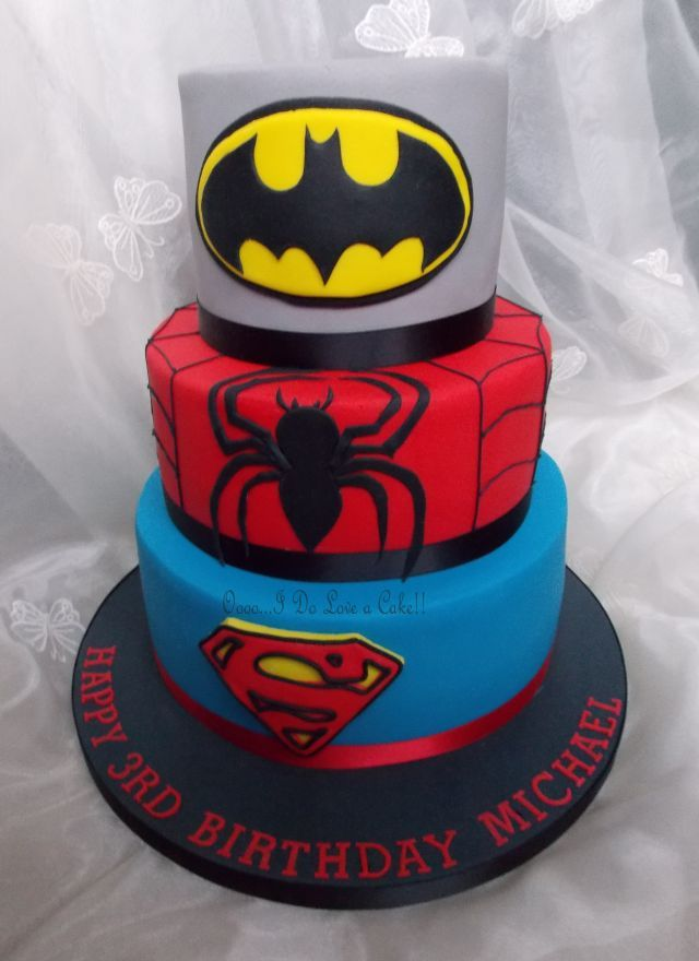 3 Tier Superhero Cake With Images Superhero Cake Boy Birthday