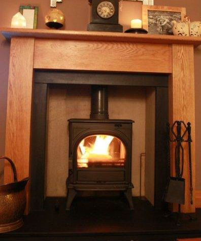 Huntington 25 shown with a solid oak wood surround | Basement ...