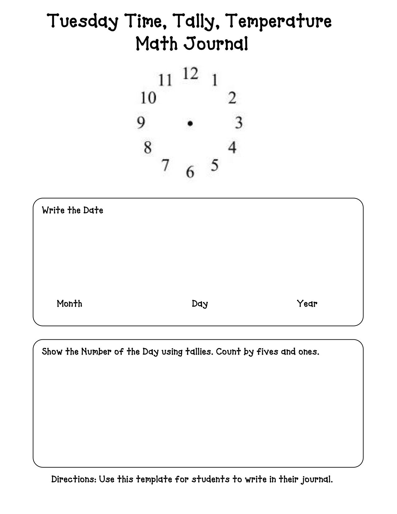Tuesday Time Tally Temperature Math Journal Template