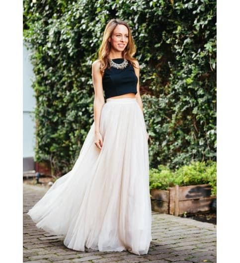 White long skirt with black crop top | India and Black