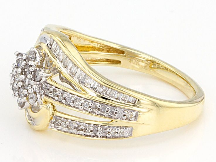 Pre Owned White Diamond 10k Yellow Gold Ring 50ctw Gold Rings Yellow Gold Rings Diamond Gemstone
