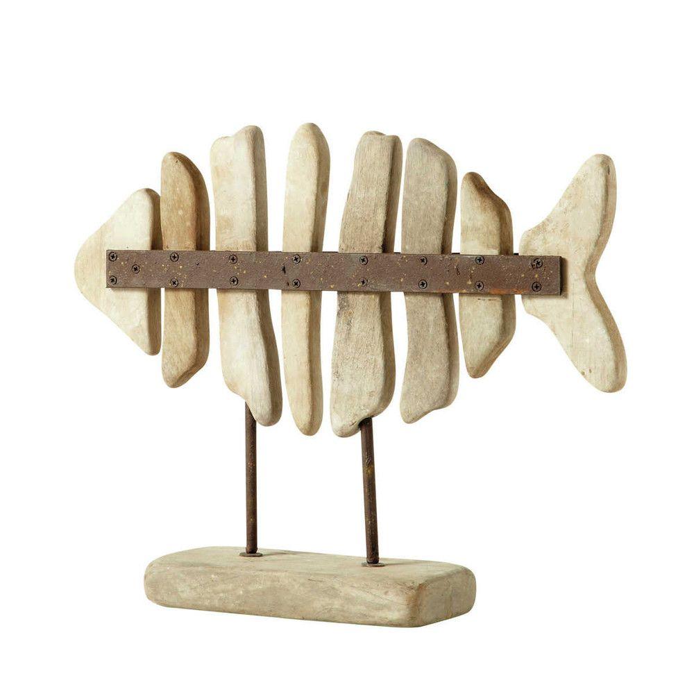 D co poisson en bois 40 x 49 cm lanester maisons du for Lampe bois flotte maison du monde