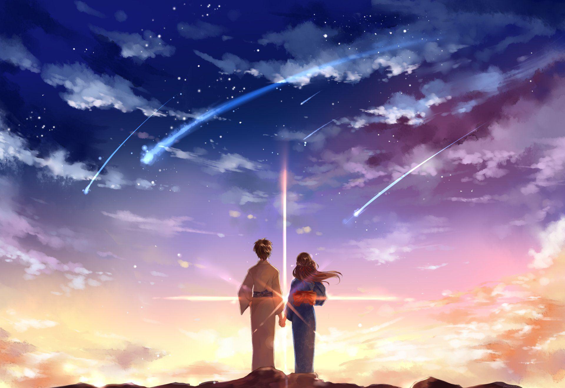 Anime Your Name. Kimi No Na Wa. Taki Tachibana Mitsuha