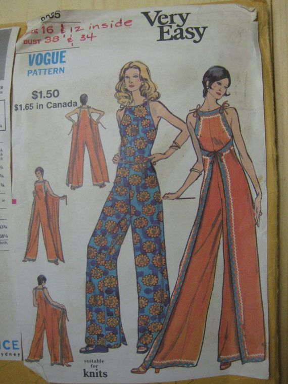Vintage Vogue 8335 wrap-around jumpsuit size 16, 12 | With a Single ...