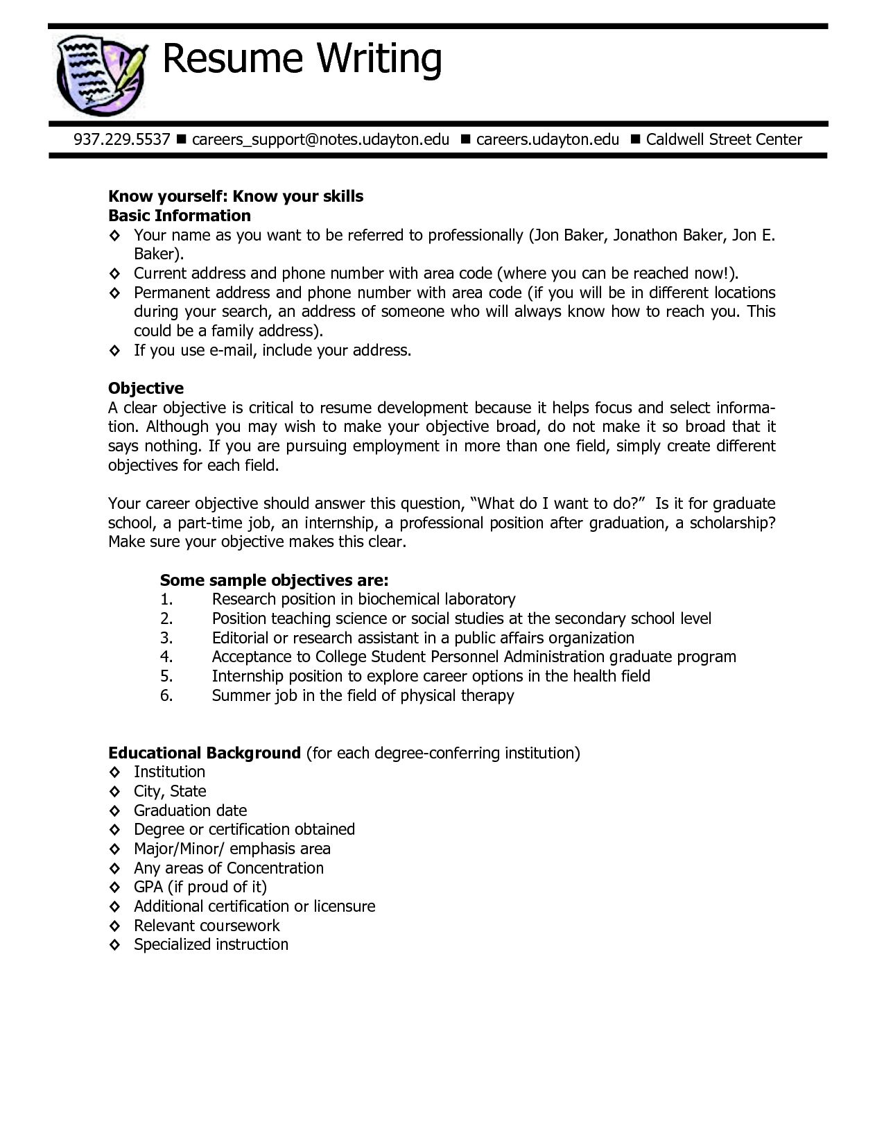 Resume Example Server Objective Examples Good For Writing Sample Tips
