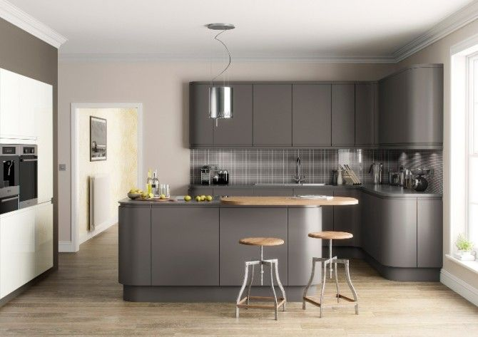 Dark Grey Matt Kitchen In A Modern Uncluttered Slab Style Style - Dark grey matt kitchen