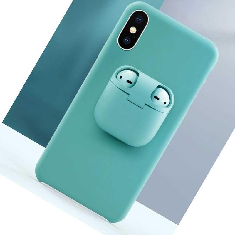 Liquid Silicone Phone Case For Iphones 11 Pro Case Xs Max Xr X 6 7 8 Plus Funda 2 In 1 Unqiue Airpods Ca Silicone Iphone Cases Iphone Cases Silicone Phone Case