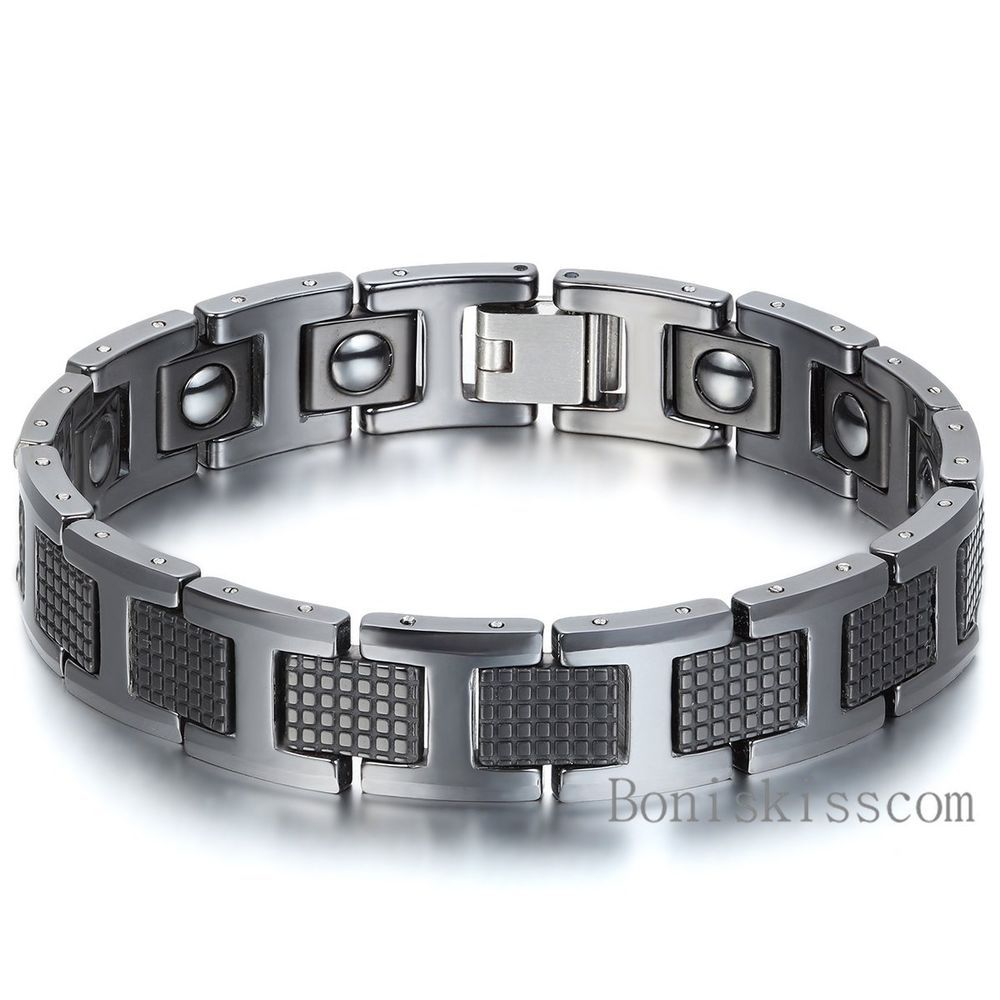 health bracelets magnetic from tungsten in germanium black therapy fatigue bracelet jewelry pulsera men item wholesale radiation hologram