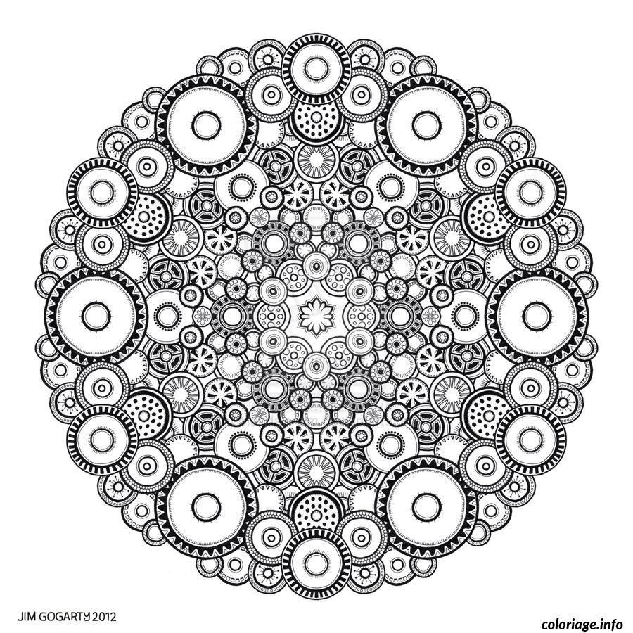 Coloriage difficile adulte mandala rond dessin imprimer - Coloriage a imprimer mandala ...