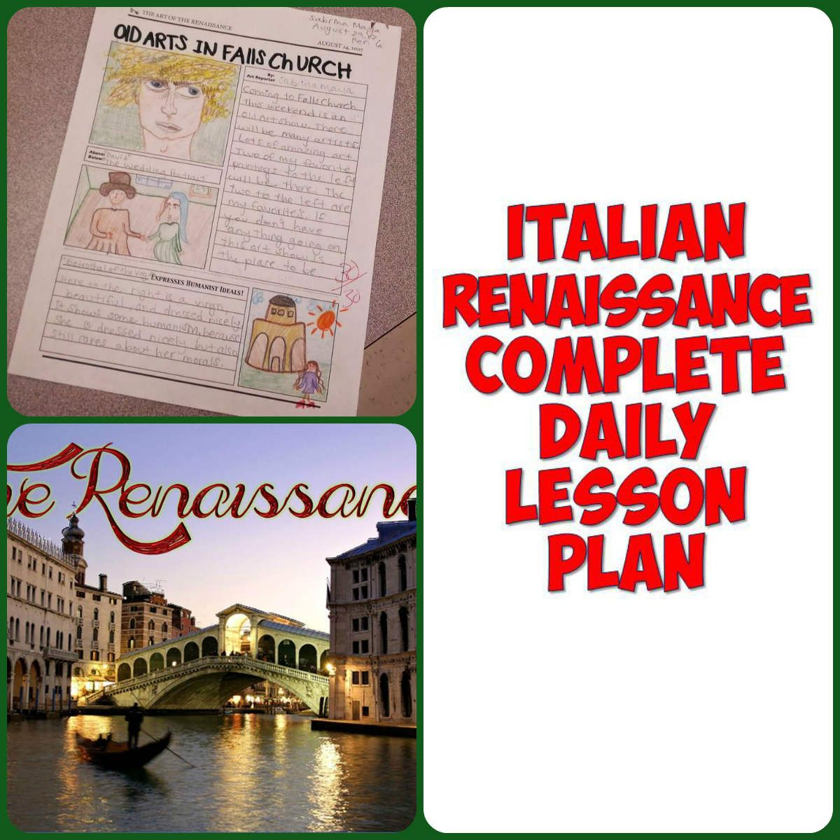 Renaissance Art And Literature Complete 1 Day Lesson Plan Social Stu S