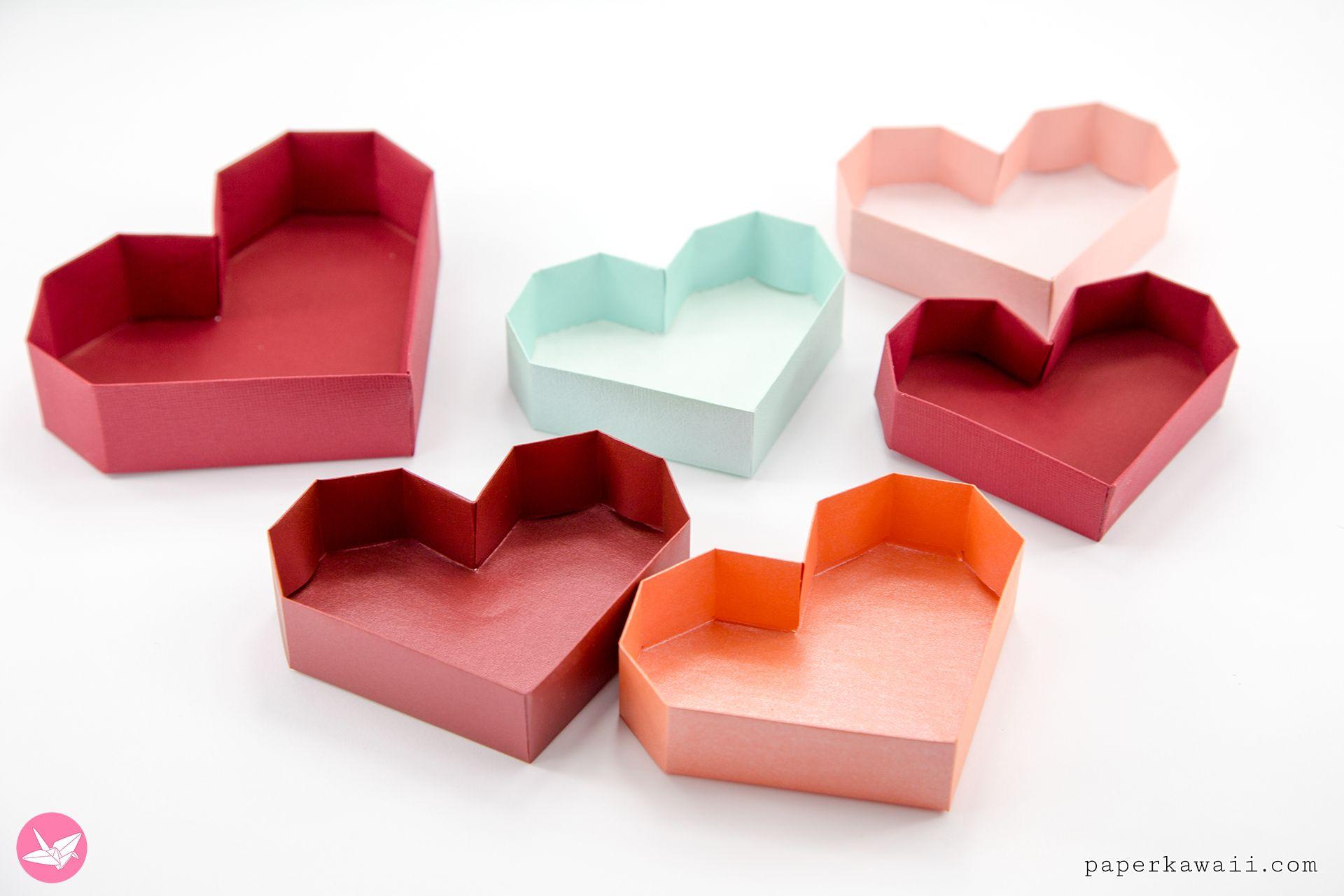 Paper Heart Box Tutorial Paper Kawaii Heart Box Paper Hearts Paper Heart