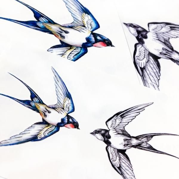 LAZY DUO Fineline Watercolor Delicate Swallow Tattoo ...