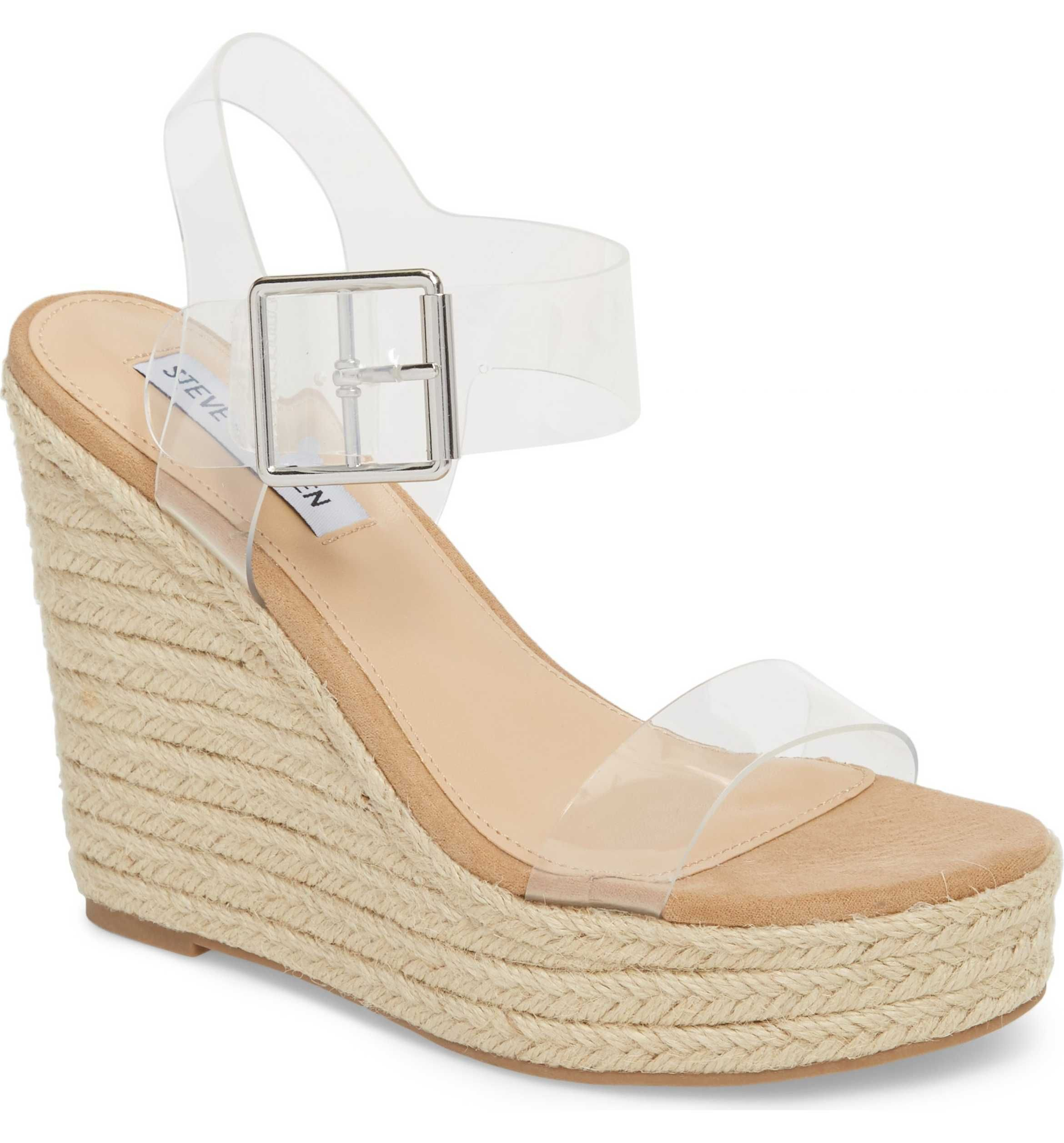 bfbd8f0e811 Main Image - Steve Madden Splash Transparent Strap Wedge Sandal (Women)