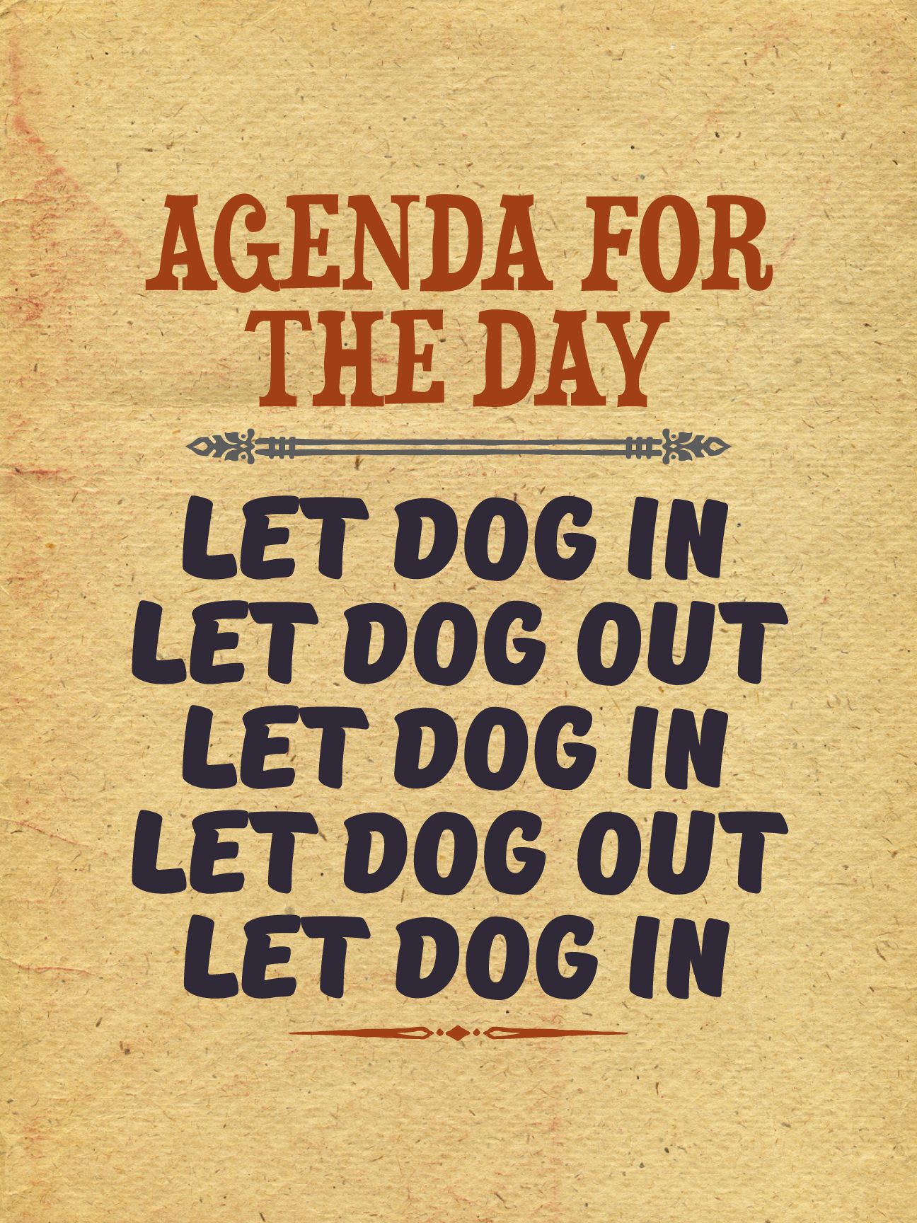 agenda for the day