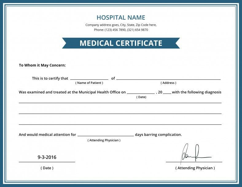 Free Hospital Medical Certificate Template Free Premium Templates
