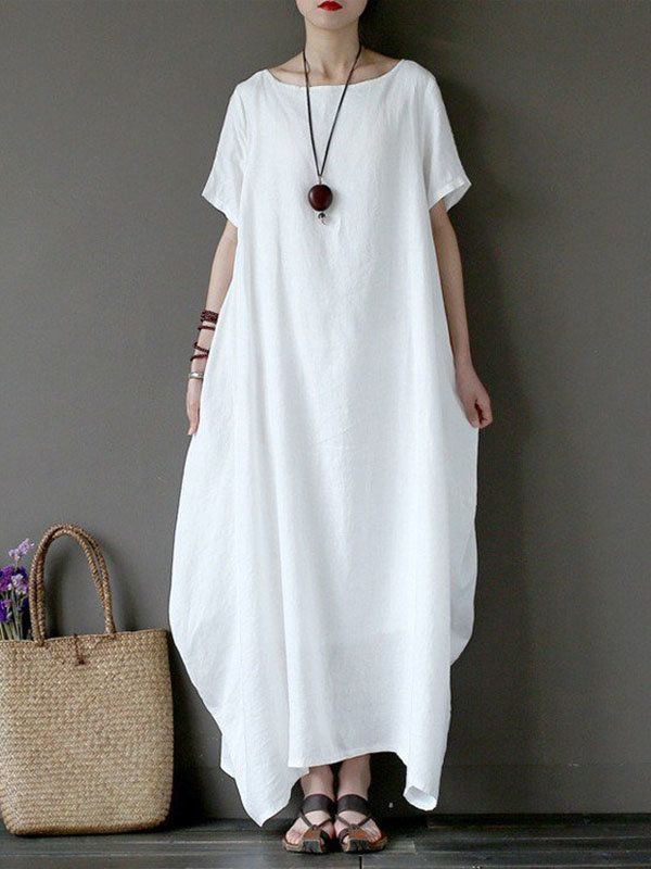 buy website for discount hot new products Shop Linen Dresses - White Cocoon Bateau/boat Neck Casual ...