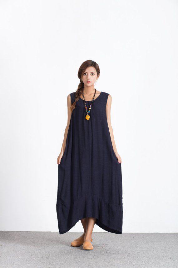 a9d8fdf3614 Women s Loose fitting maxi dress oversize long cotton caftan linen  Bridesmaid dress plus size clothi