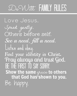family rules with scripture - Google Search