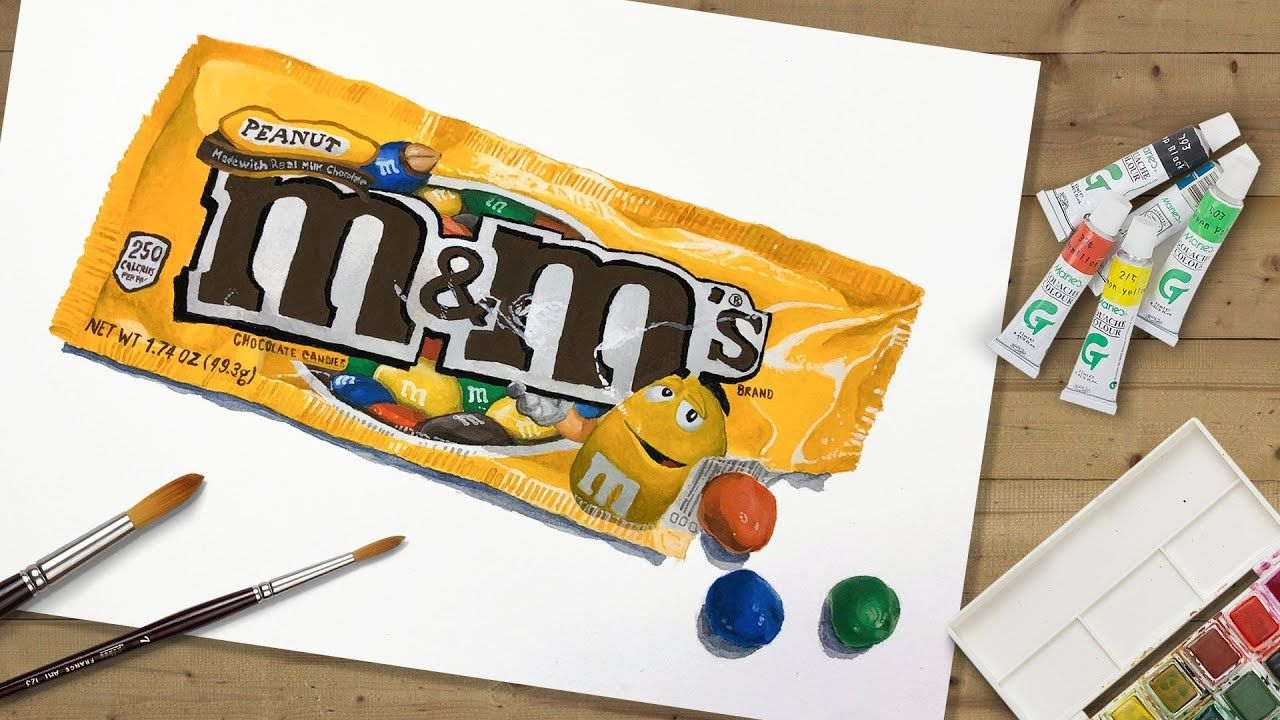 Realistic Gouache Opaque Watercolor Painting Of Candy