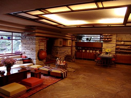 Frank Lloyd Wright Prairie Style f. l. wright's iconic falling water interior. | prairie style