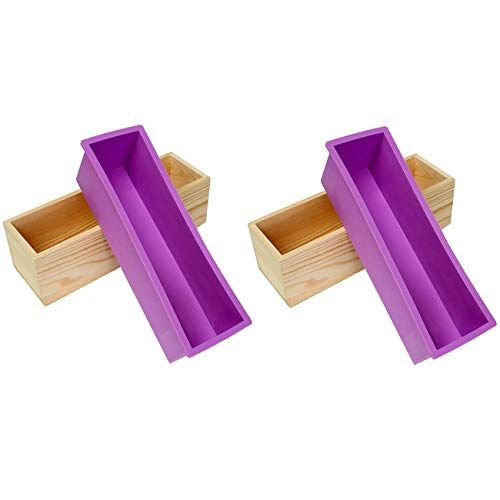 Ogrmar Flexible Rectangular Soap Silicone Mold With Wood Box Diy Tool For Cake Making 42oz
