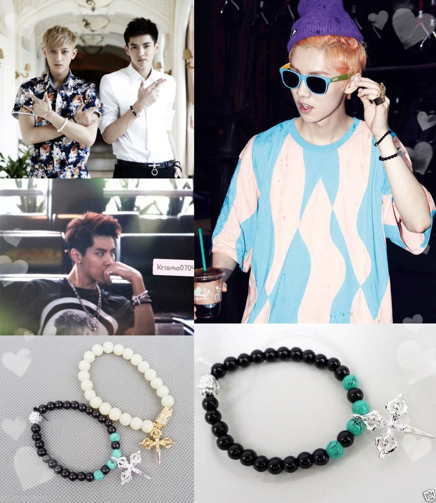 Details About LUHAN TAO KRIS Fashion Cross Bead Bracelet