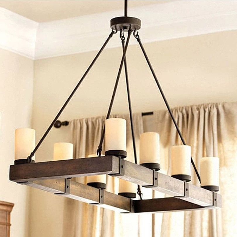 Rural Countryside Vintage Pendant Lights Rectangular Nature Wood Pendant Lamps Candlestick Hanging Light Fixtures High Quanlity Dining Room Lighting Dining Room Light Fixtures Rectangular Chandelier